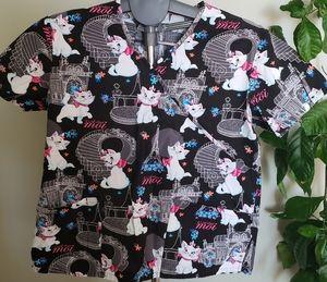 Disney Aristocats front pockets scrub top